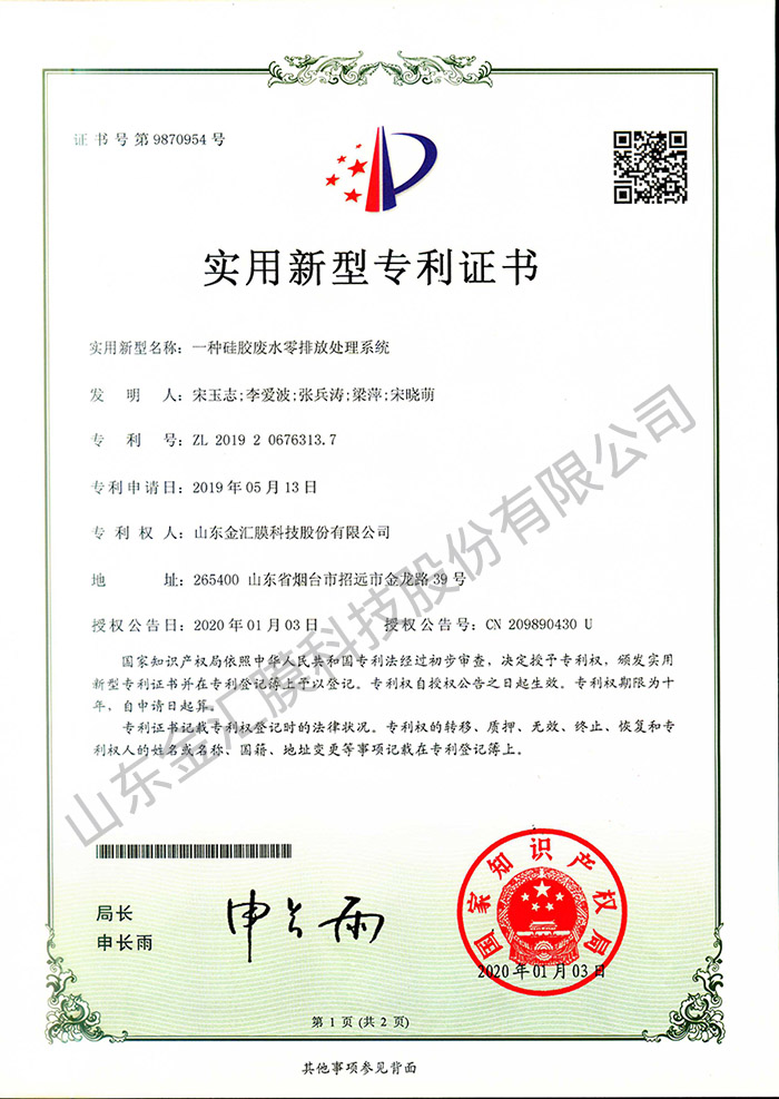 实用新型专利——一种硅胶废水零排放处理系统